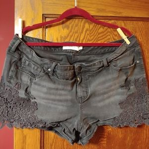 Torrid black denim lace short shorts